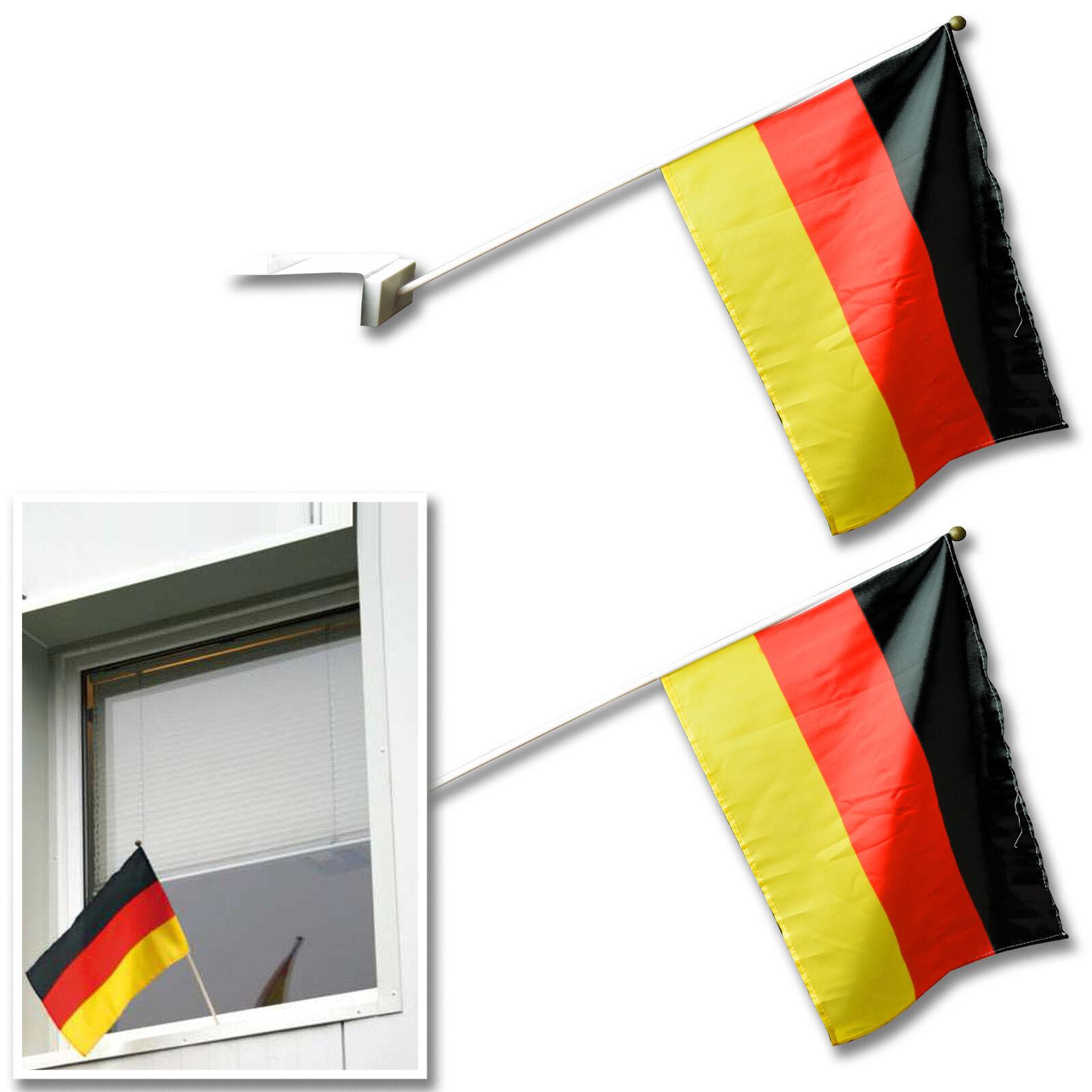 30x Deutschland-Fahne Deutschlandfahne Deutsche Flagge Flag am Stab 45 x 30 cm