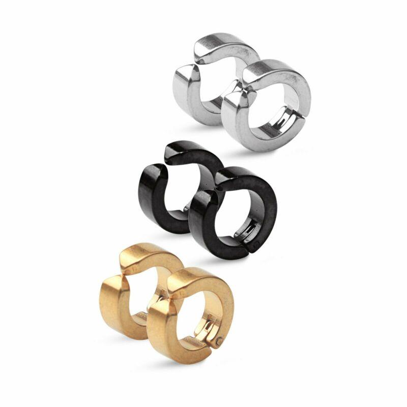 Non-Piercing Clip On Fake Men Women Ear Stud Cuff Hoop Earrings Stainless Steel