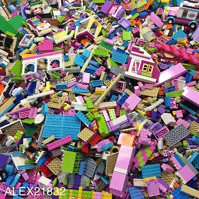 Lego Friends Bulk Lot 2 Pounds LBS of Random Friends Parts Pink White Girl Color