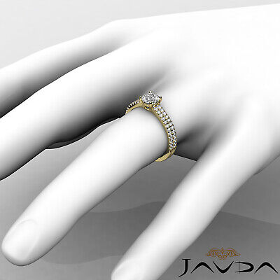 2 Row Shank French U Pave Round Diamond Engagement Ring GIA I Color VS2 1.21 Ct 7