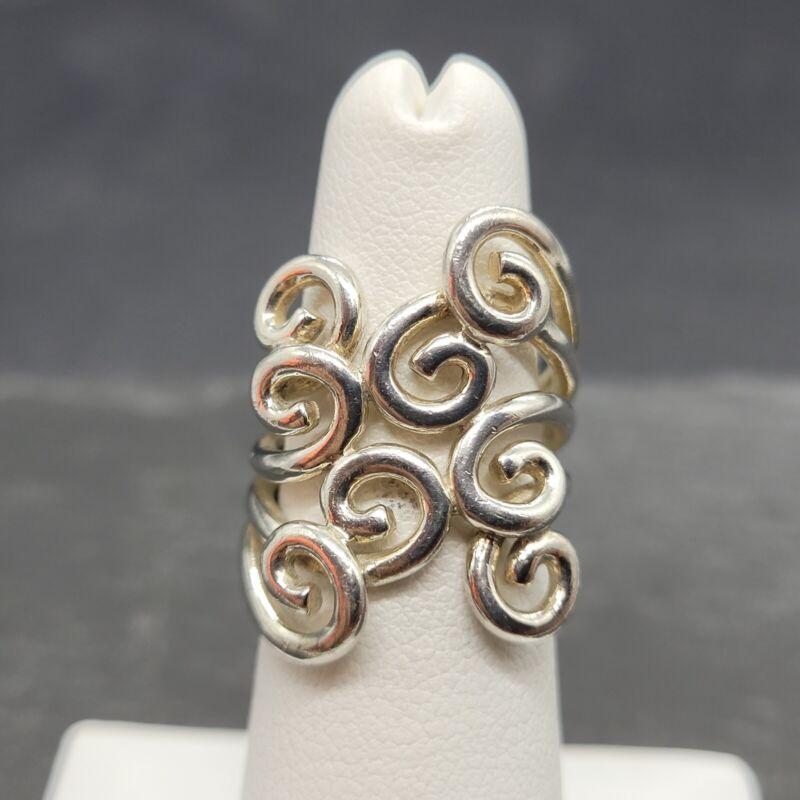 Vintage 925 Sterling Silver Modernist Ring Size 4.5