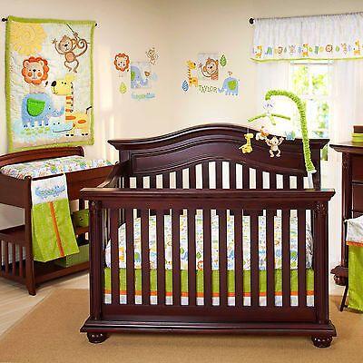 (Congo Bongo Luxury Applique  4 Piece Baby Crib Bedding Set by Nojo  Jungle )