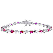 Amour Red Cubic Zirconia and Created White Sapphire Sterling Silver Bracelet