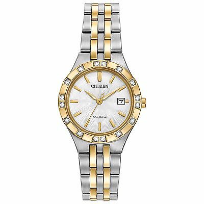 (Citizen Eco-Drive Women's EW2334-51A Diamond Accent Two-Tone Bracelet 27mm Watch)