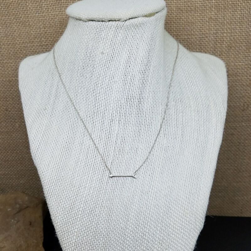 """Minimalist Sterling Silver 925 Signed Arrow Fine Chain Necklace 16"""""""