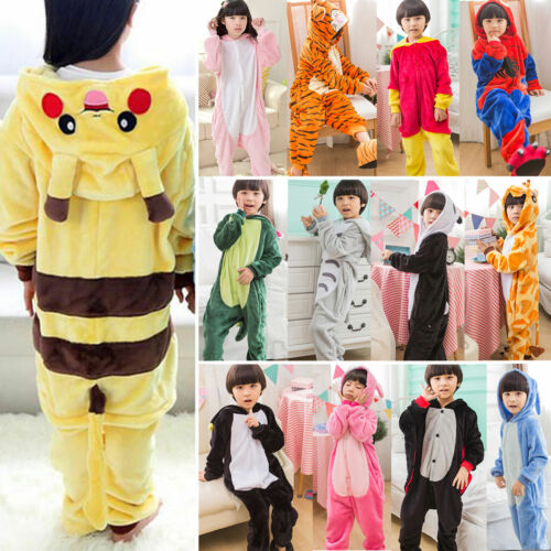 Jungen Mädchen Pyjamas Kigurumi Cosplay Kostüm Tier Winter Jumpsuit Nachtwäsche