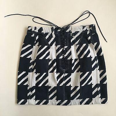 Azzedine Alaia Vintage Runway 1991 Tati Lace Up Skirt Sz 10   42 Houndstooth