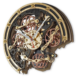 Automaton Bite 1682 Black Gold Wooden Wall Clock Handcrafted Steampunk Design