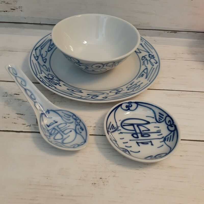 Chinese Tableware Set - Canton Express Individual set 4 Pieces Plate Bowls Spoon