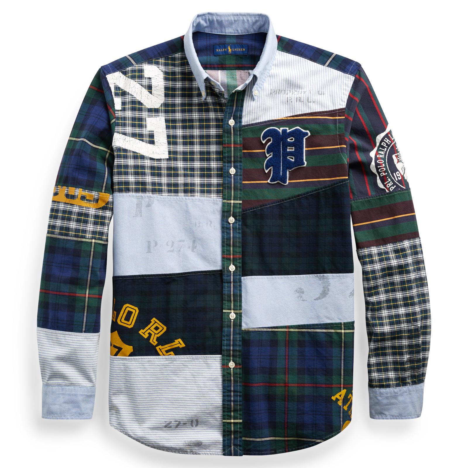 b5cdcce2 Details about Mens Polo Ralph Lauren Classic Fit Patchwork Stadium Oxford  Fun Shirt Sizes L XL