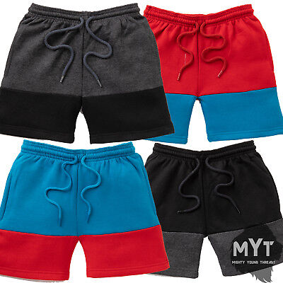 Boys Kids Fleece Sweat Shorts Contrast Colour Juniors Short Age 5 - 10 Years