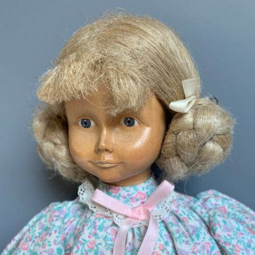 """VINTAGE DOLFI ORIGINAL WOODEN DOLL 13"""" MADE IN ITALY 1986 HANDCRAFTED TAG"""