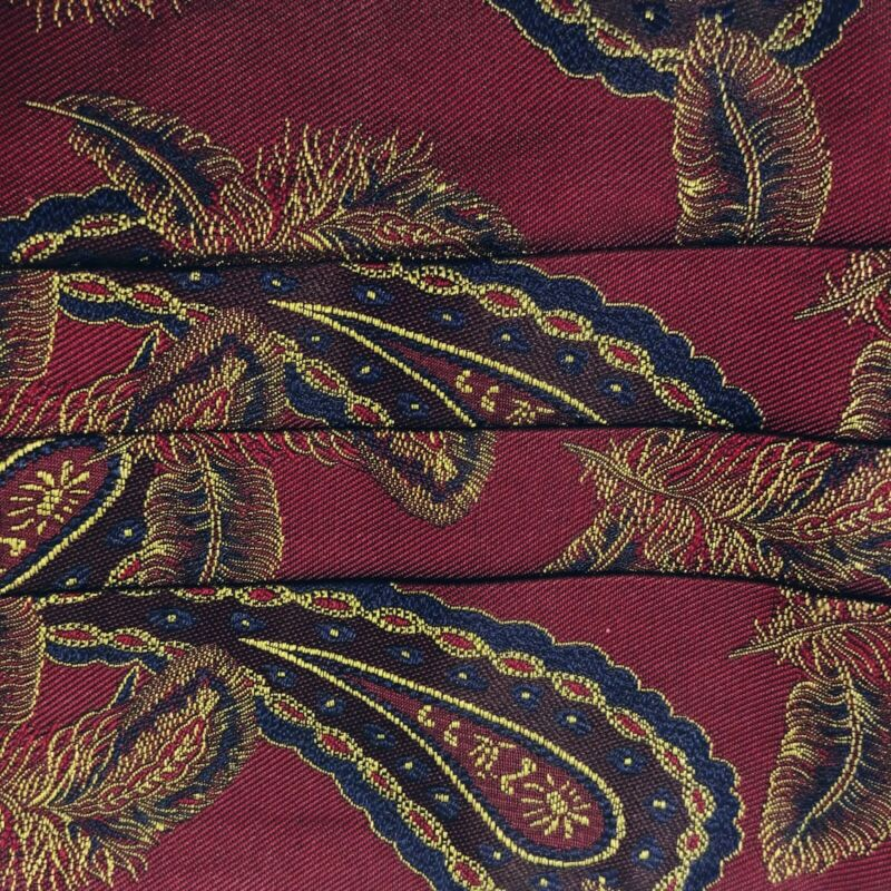 Paisley Floral Cummerbund Silk XMI for Nordstrom Burgundy Handsewn Formal Tuxedo