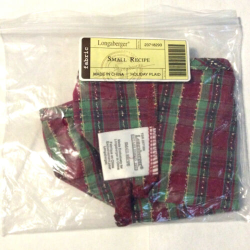 Longaberger Holiday Plaid Liner ONLY for Small Recipe NO Basket NEW FREE SHIP