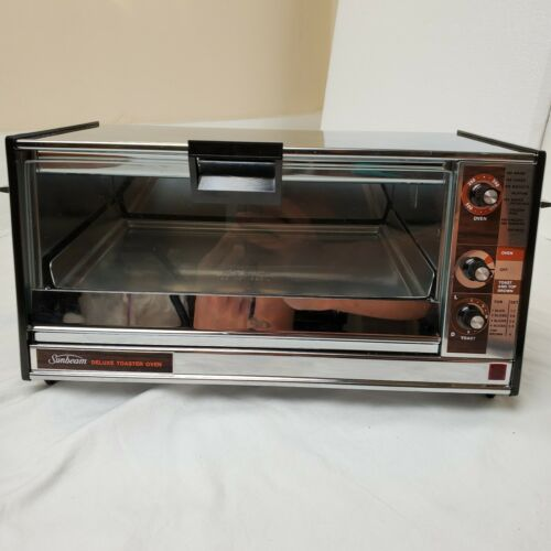 NOS RARE Vintage Sunbeam Deluxe Toaster Oven Chrome Wood Grain MCM Working