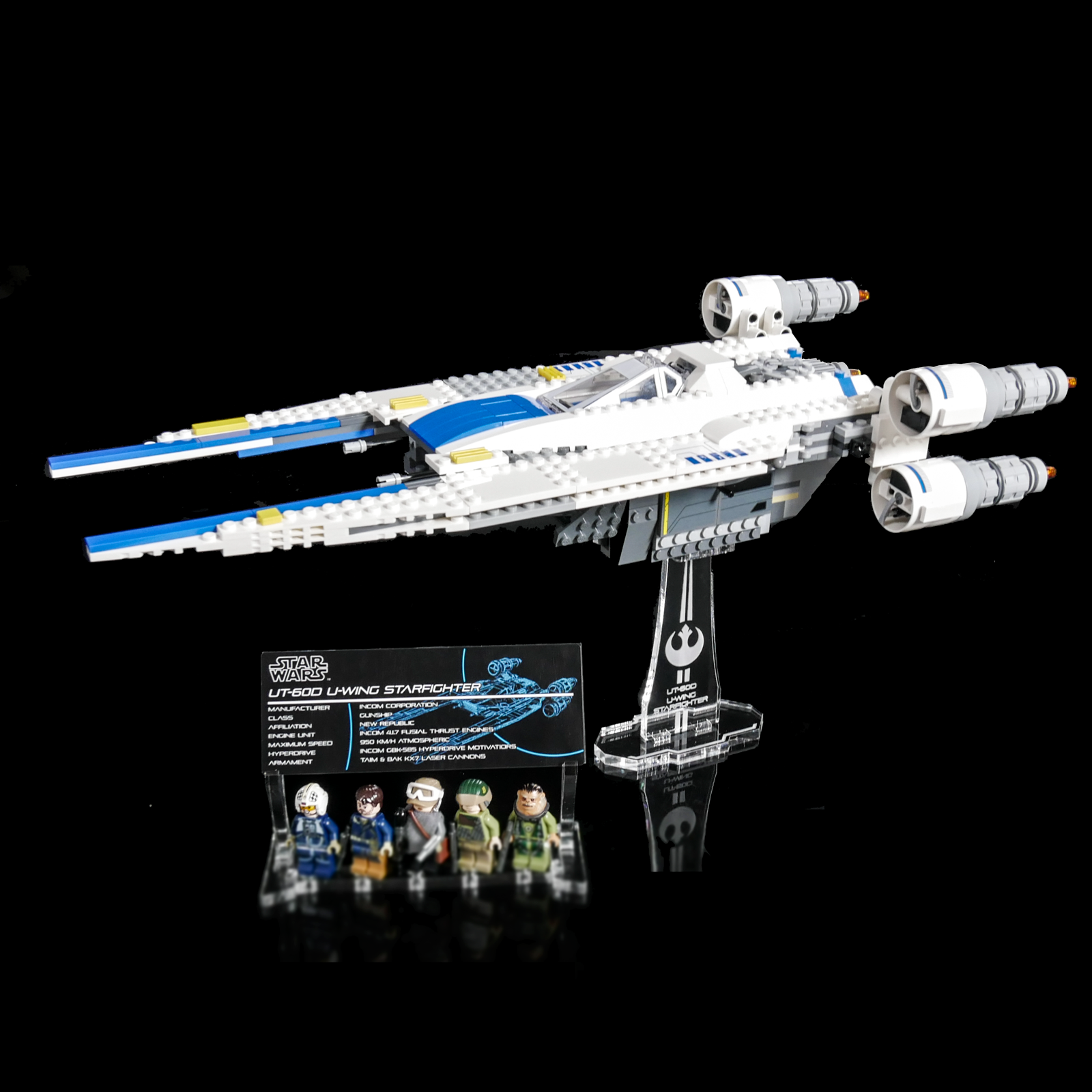 Display stand angled for Lego 75155 Rebel U-Wing Fighter Star Wars