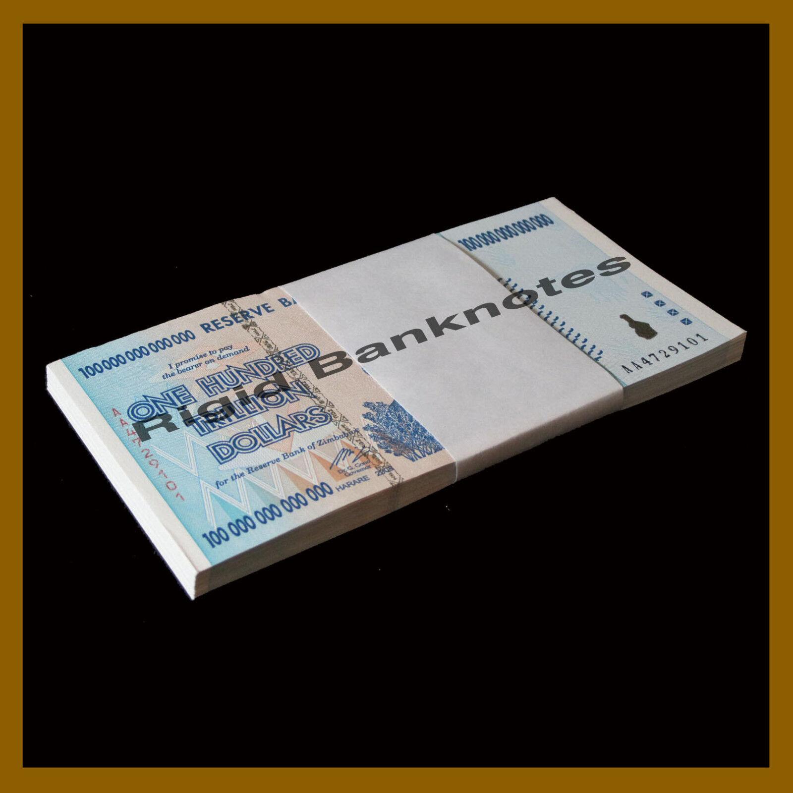 Zimbabwe 100 Trillion Dollars x 25 Pcs, 2008 AA, P-91 (1/4 Bundle) Unc