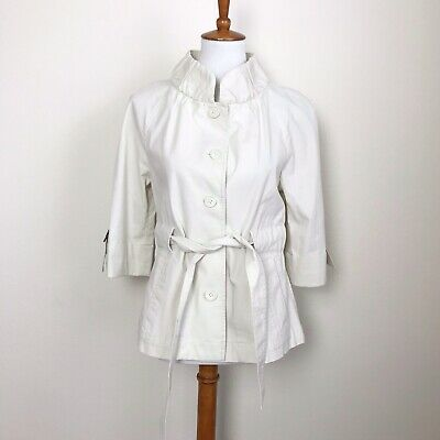 LOFT 4 Cream Ruffle Neck Belted Jacket Spring Lightweight Ivory Off White (White Lightweight Belted Jacket)