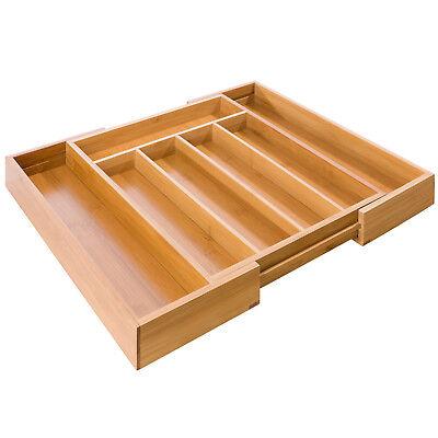 Besteckkasten Bambus Holz Besteckeinsatz Schubladeneinsatz Ausziehbar Variabel