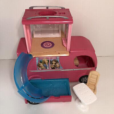 Mattel Barbie Dream Camper RV Bus Home Van Motor Pink Playset w/ Furniture