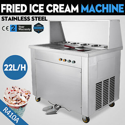 Hot Double Pans Thai Fried Ice Cream Machineice Cream Roll Maker With 5 Boxes