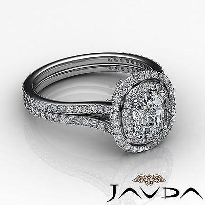 Cushion Diamond Engagement Antique Halo Ring GIA F SI1 14k White Gold 2.55 ct 2