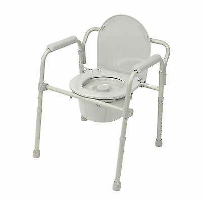 3 in 1 Commode Folding Portable Toilet Steel Splash Shield 350 Weight Capacity Commode Splash Shield