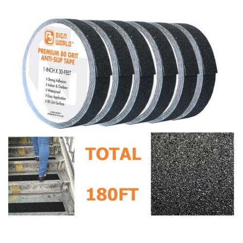 "BEST 1""x30 FT Black Anti-Slip Safety Grip Tape Roll, 80Grit Industrial Grade 6PK"