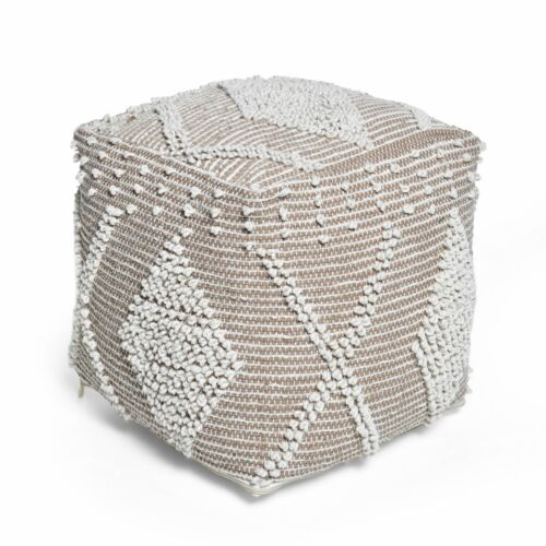 Dereka Contemporary Handcrafted Faux Yarn Pouf Furniture