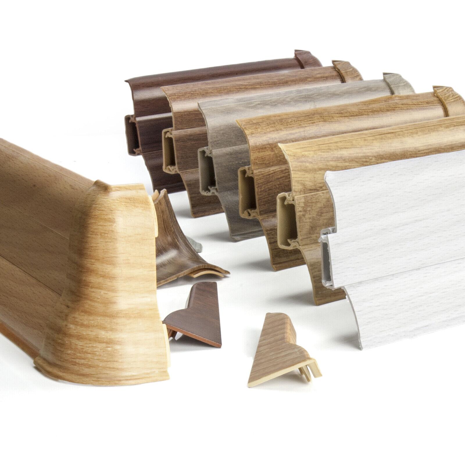 200cm Sockelleisten Laminatleisten Kunststoff PVC Leisten 62mm Fußleiste 2m Weiß