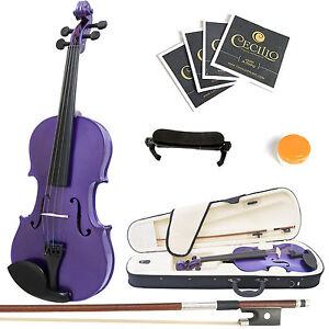 Mendini-Size-1-4-MV-Purple-Solidwood-Violin-ShoulderRest-Extra-Bridge-Case