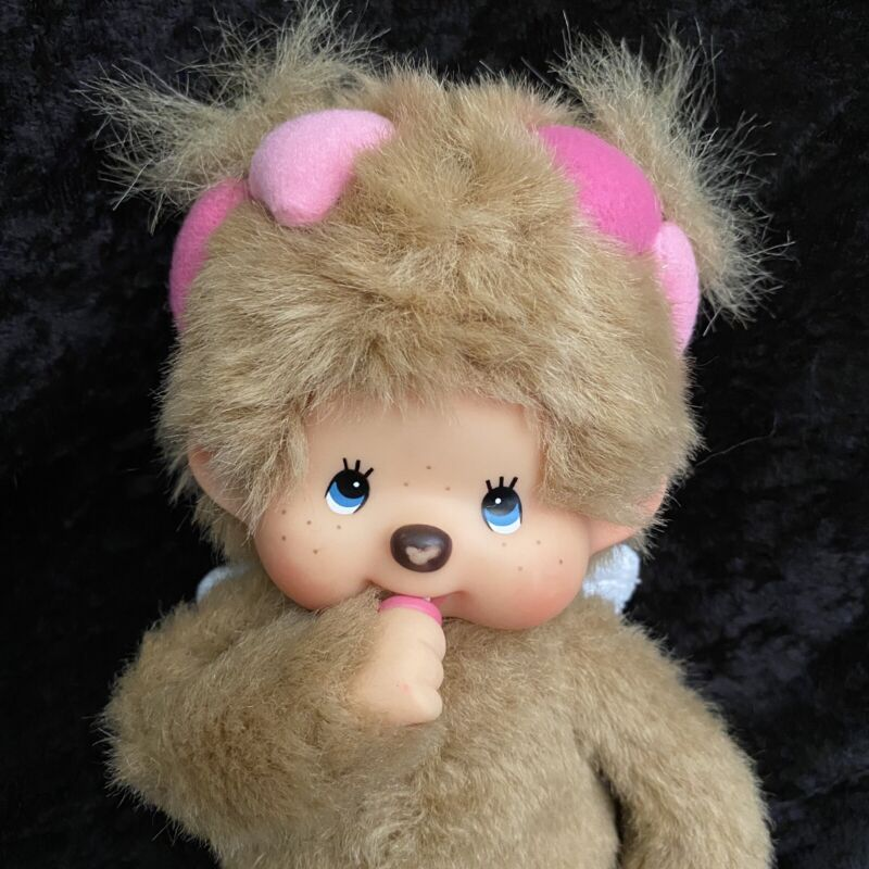 "Sekiguchi Monchhichi Girl Monkey Wings Doll Pink Hearts 8"" Gift From Angel Rare"