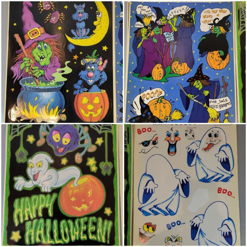Vintage Color Clings Static Cling Happy Halloween Fall Window Decoration