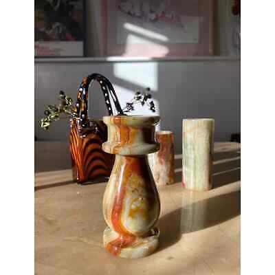 Set of 3 marble candle holders