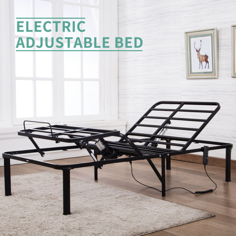 Bi-Folding Twin XL Metal Bed Frame Electric Adjustable Head Leg Elevation w/RC