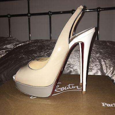 White Patent Slingback (Christian Louboutin Lady Peep Sling Back Patent Nude Grey White High Heel 5 38)