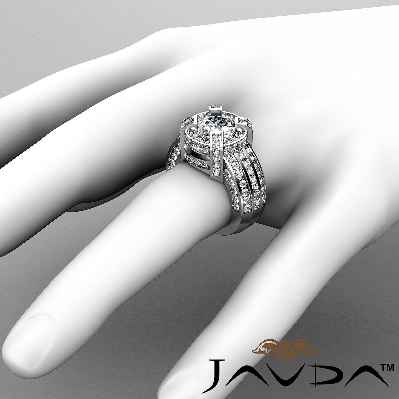 3.9ct Round Diamond Engagement Halo Pave Channel Set Ring GIA F VS2 Platinum 3
