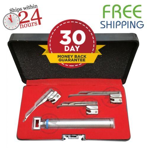 Reusable Baby Miller Laryngoscope  Set - 3 Infant Blades  + Penlite Handle + Box