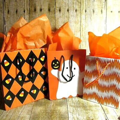 Cute Halloween Gift Bags (Hallmark Halloween Gift Bags w Tissue Graduated Size Cute Ghost Candy Corn Set)