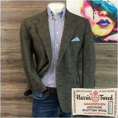 Vintage Harris Tweed Sport Coat Blazer Jacket Wool Mens Size 44S Two Button