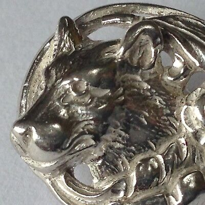 Beautiful Vintage Sterling Silver WOLF HEAD Lapel Pin / Tie Tack