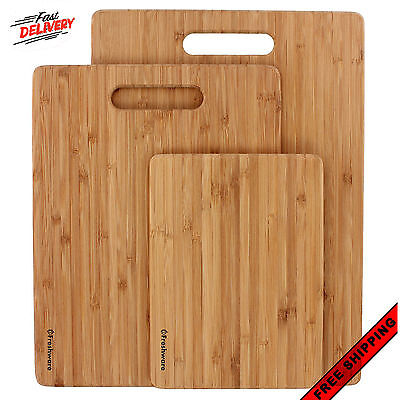 Bamboo 3 Set Piece Cutting Board Totally Kitchen Wood Chopping Boards New