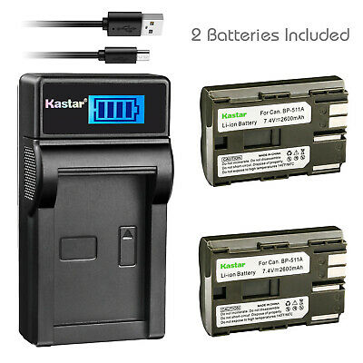 Kastar BP-511A Battery + Charger for Canon DS6041 ZR10 ZR20 ZR30 ZR40 ZR60 ZR90