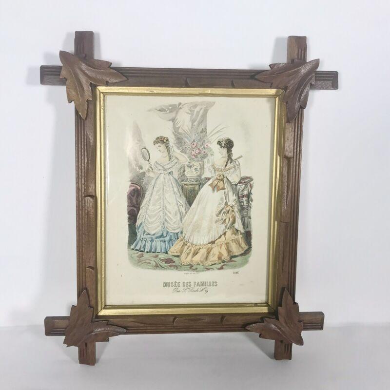 Vintage Adirondack Wood Leaf Frame With Musee Des Familles Print