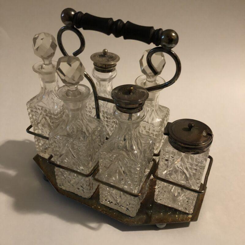 Antique EPNS Silver Plated Clear Cut Glass Stoppers 6 Bottle Cruet Set