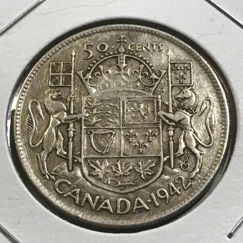 1942 CANADA SILVER FIFTY CENTS NICE GRADE HALF DOLLAR