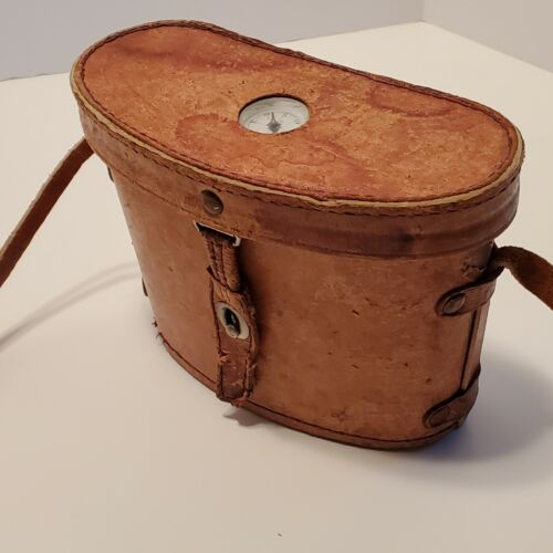 """Vintage Leather Binocular Hard Case with Compass Lined 5"""" Tall 7"""" Wide 14"""" Strap"""