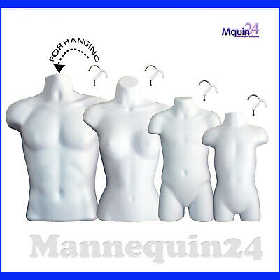 4 Pack Mannequin Torso Dress Forms Male Female Child Toddler Hanging Body Forms