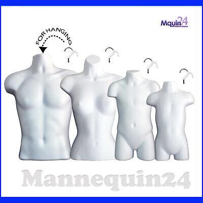 4 Pack Mannequin Torso Dress Body Form For Hanging Male Female Child Toddler Set