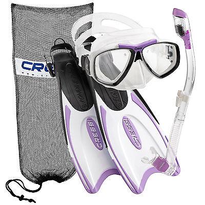 Cressi Palau Long Scuba Snorkeling Mask Fin Snorkel Set   Made In Italy